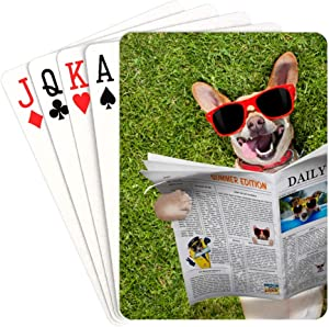 HUAPIN Poker Deck of Cards Dog Reading Newspaper Or Magazine Print Playing Cards Unique for Kids & Adults Card Decks Games Standard Size