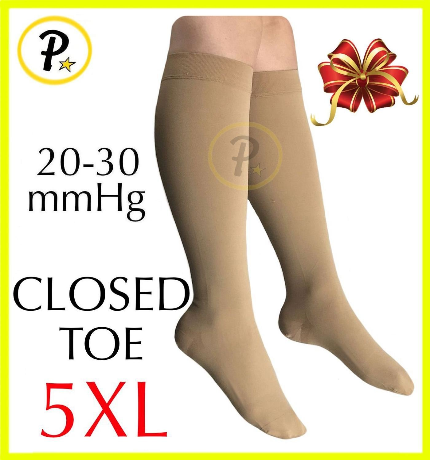 Presadee Closed Toe (Big & Tall Super Size) Traditional 20-30 mmHg Compression Grade Swelling Veins Ankle Calf Leg Sock Support (Beige, 5XL)