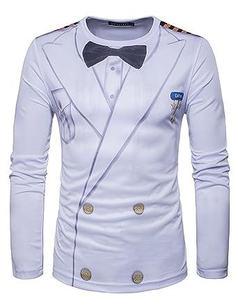 YCHENG Männer Anzug Mode 3D Druck Muster Slim Fit Langarm  Rundhalsausschnitt T-Shirt Tops
