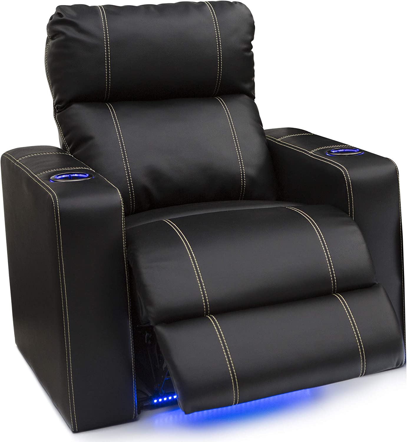 Seatcraft Dynasty - Home Theater Seating - Power Recline - Leather Gel - Base Lighting - Lighted Cup Holders - USB Charging - Wall Hugger - Single Recliner, Black
