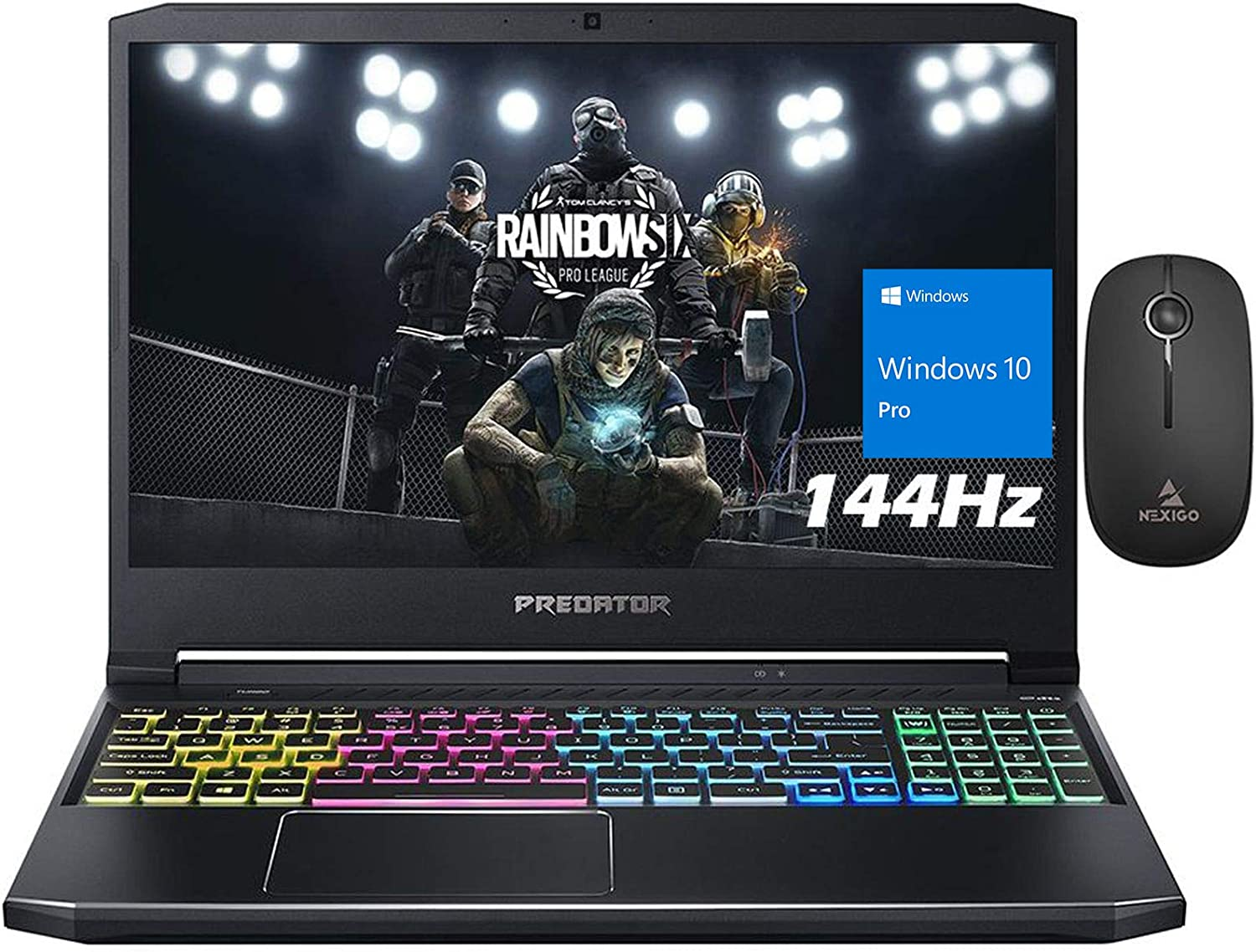2020 Acer Predator 15 144Hz FHD 1080P Gaming Laptop, Intel Core i7-10750H up to 5.00 GHz, RTX 2060 6GB, 16GB RAM, 512GB SSD (Boot) + 1TB HDD, Backlit KB, Win10 Pro + NexiGo Wireless Mouse Bundle