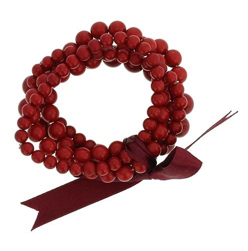 f253b8769705 Pulseras de abalorios de hilo multicapa - Pulseras con cuentas rojas ...