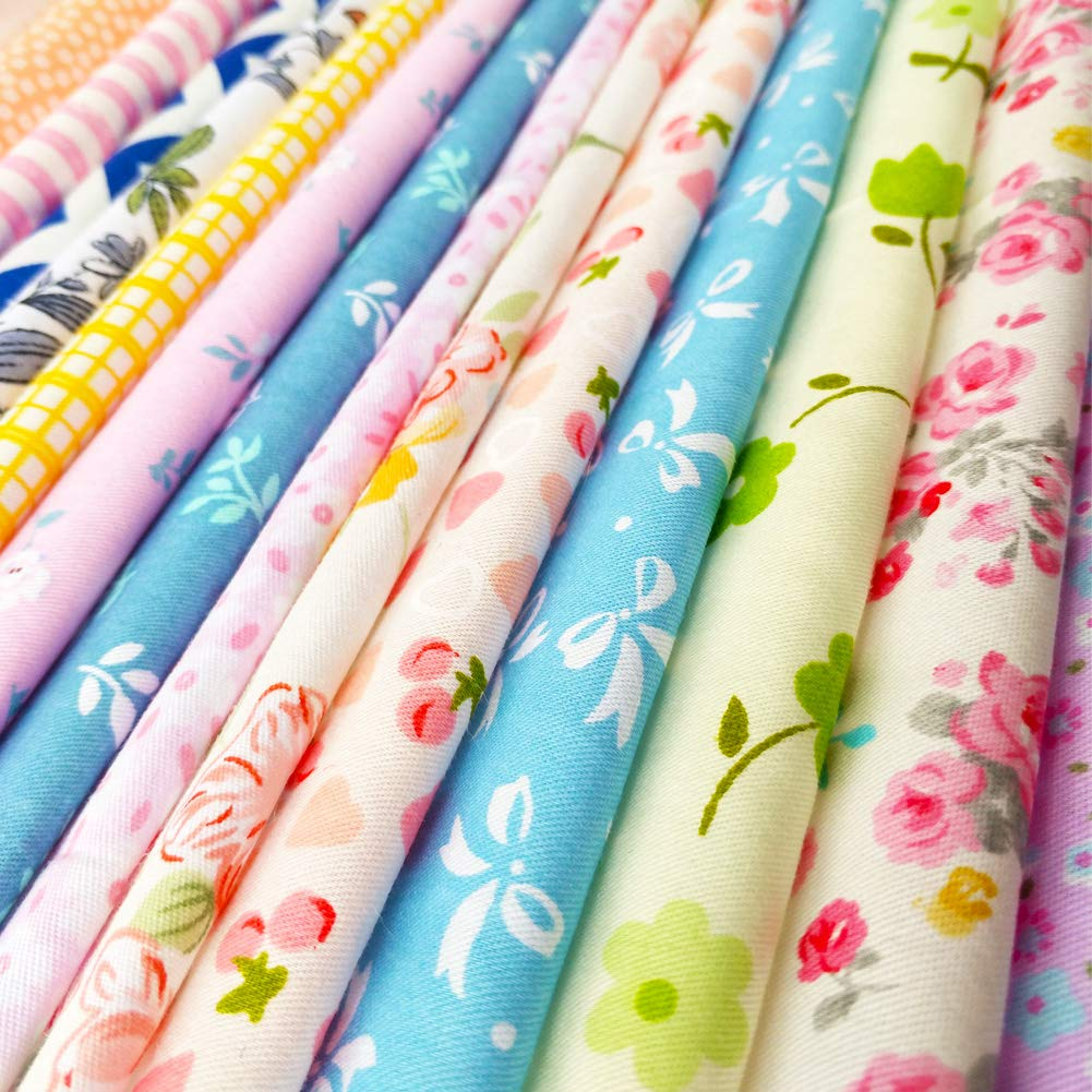 flic-flac 25pcs 10 x 10 inches Cotton Fabric Squares Quilting Sewing Floral Precut Fabric Square Sheets for Craft Patchwork 25cmx25cm 25pcs 25cm25cm