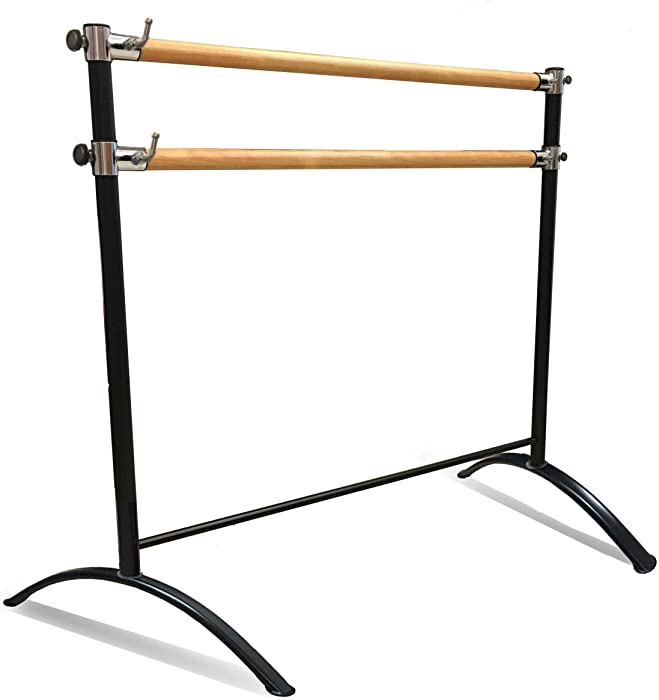 Artan Balance Ballet Barre Portable for Home or Studio, Height Adjustable Bar for Stretch, Pilates, Dance or Active Workouts, Single or Double, Kids and Adults