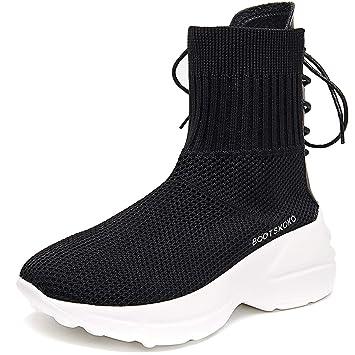 KOKQSX-Calzados Deportivo Pendiente Tacones Transpirable con Altas 5cm Cordones Calcetines Zapatos. Treinta y