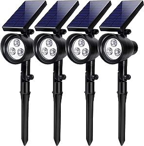 InnoGear Solar Lights, 2-in-1 Waterproof 3 LED Solar Spotlights Adjustable Wall Light Landscape Lighting Security Light Outdoor Auto On/Off for Patio Deck Yard Garden Driveway, Pack of 4