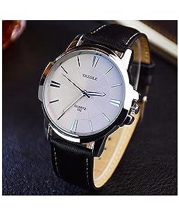 LinTimes Fashion Elegant Mens Watch Quartz Analog Business Leisure Wristwatch Black Band White Dial