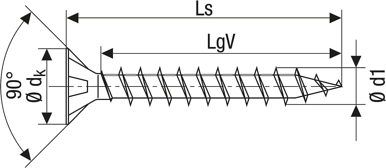 4CUT Zincato Vite universale con testa svasata filettatura parziale 6,0 x 140 mm lucida zincata tramite galvanizzazione Spax T-STAR plus 0//1050//1// 6,0//140//01