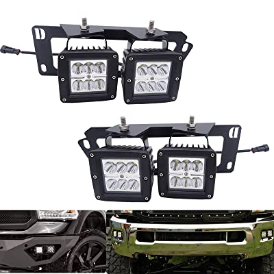 4x 3 Inch 18W Dually LED Fog Light Pods with Quick-Detach Wiring Plug and Fog Lamp Location Mounting Bracket Fits for Dodge 2010-2020 Ram 2500 3500, 2009-2012 Ram 1500: Automotive