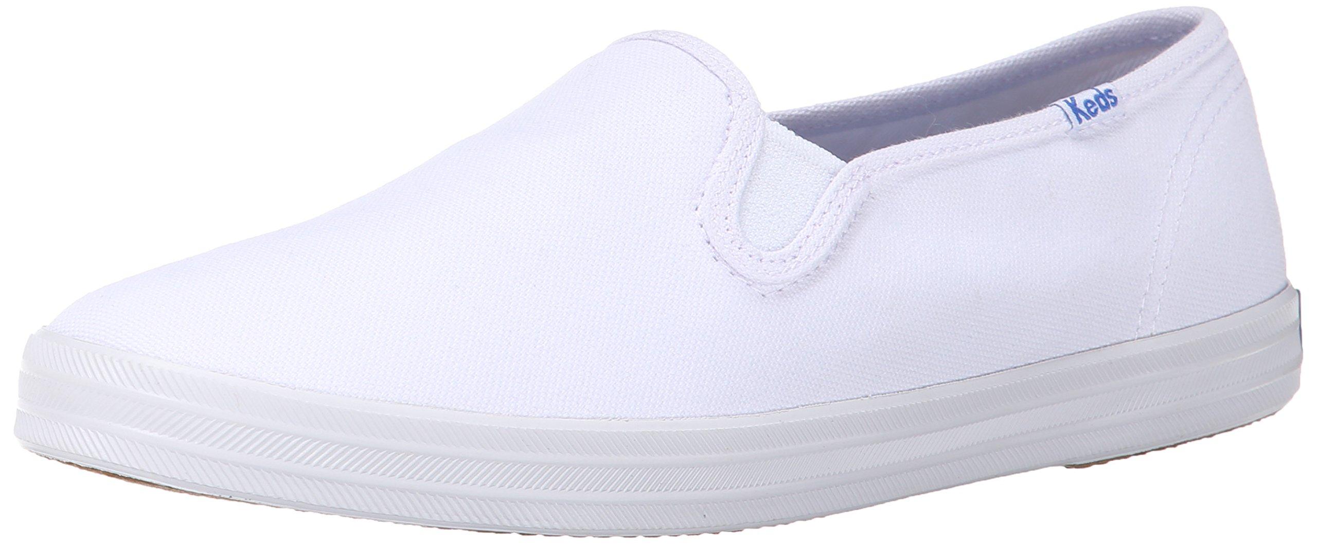 Keds Women's Champion Original Canvas Slip-On Sneaker, White Canvas, 9 M US