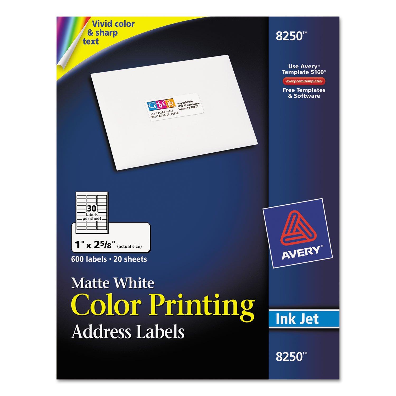 Amazon Avery 8250 Vibrant Color Printing Address Labels 1 X 2