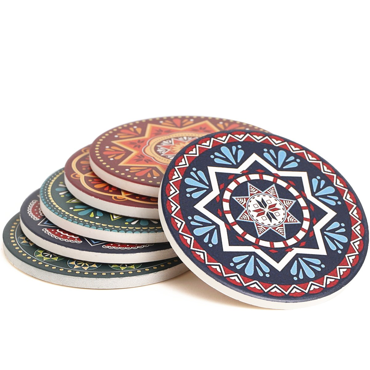 ENKORE Absorbent Coasters For Drinks - 6 Pretty Mandala Patterns on Big Ceramic Stones with Cork Back, Use as Elegant Home Decor and Save Your Furniture From Damage By Water Stain And Marks, No Holder by Enkore