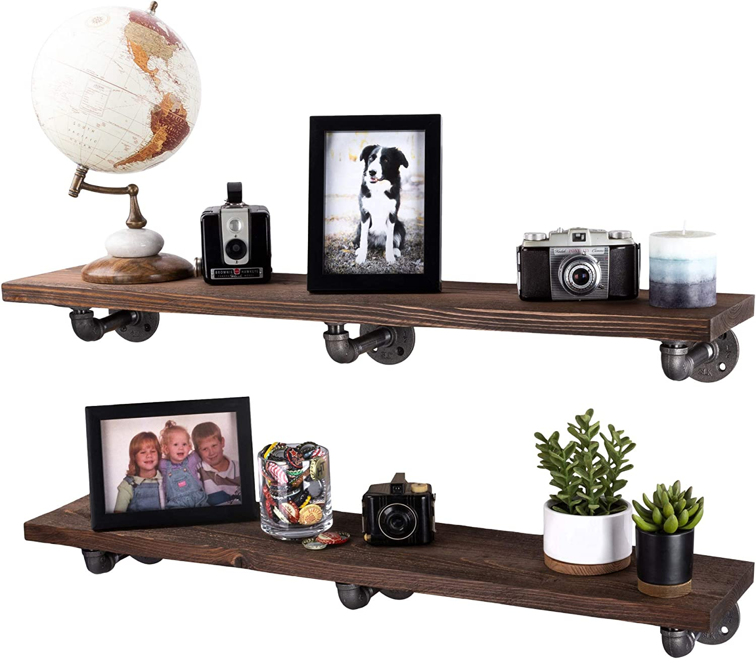 PIPE DÉCOR Industrial Pipe Wooden Shelves Restore Premium Douglas Fir Wood Shelving 36 Inch Length Set of 2 Boards and 6 L Brackets Trail Brown Finish
