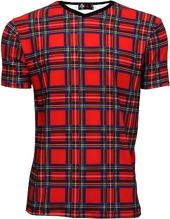 Rojo de cuadros escoceses Classic para hombre V Punk para el cuello con impresión de colibríes y T-camiseta de manga corta