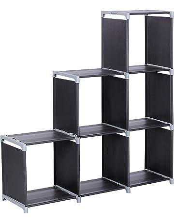 SONGMICS Organizador Multifuncional Estantería Librería de 3 Niveles 6 Cubos almacenaje 105 x 29 x 105