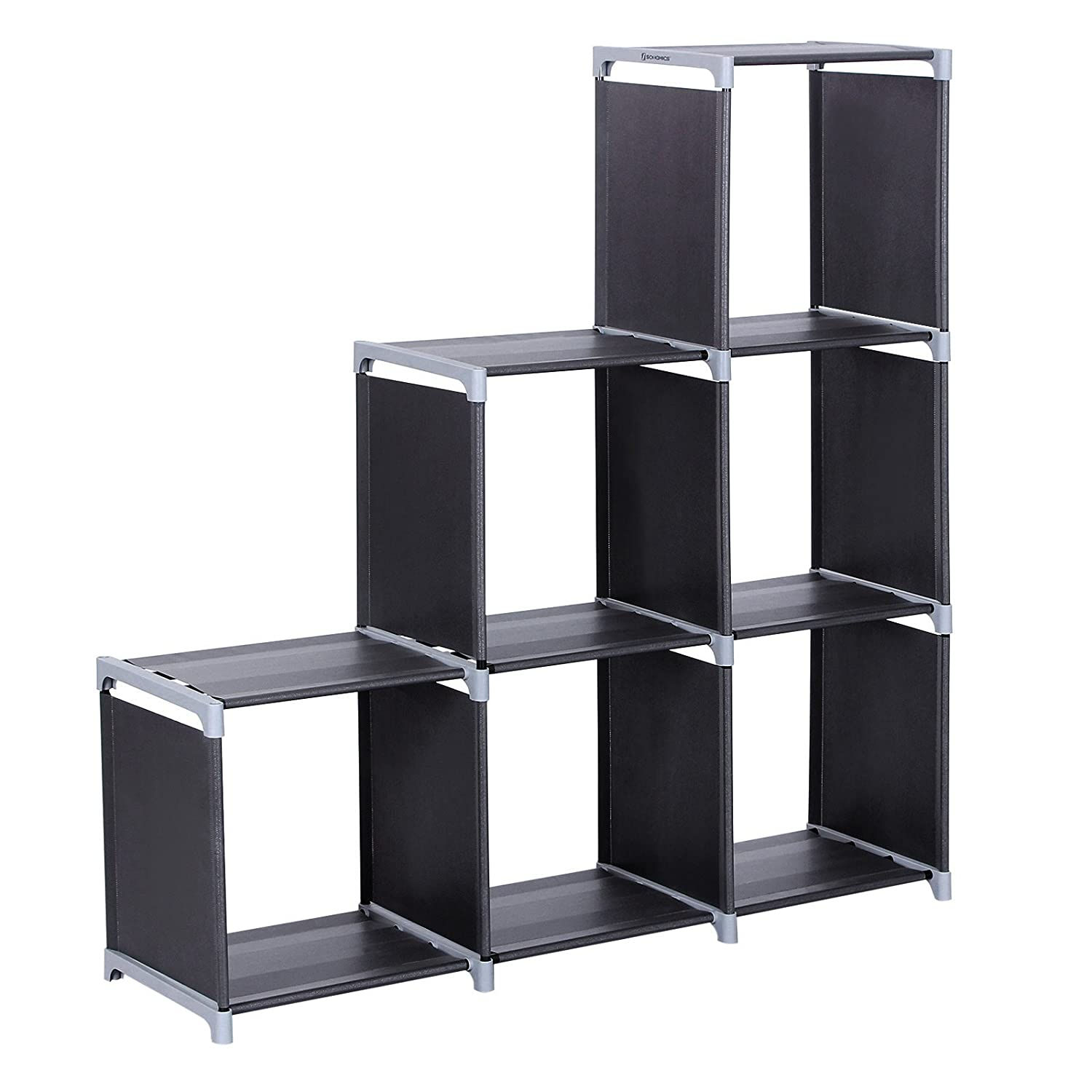 SONGMICS DIY Bookcase Display Storage Shelf Room Divider Step Rack Maximum Loading Capacity of Each Cube: 10 kg 110 x 32 x 106 cm Black LSN63H