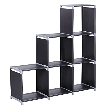 SONGMICS 3 Tier Storage Cube Closet Organizer Shelf 6 Cabinet Bookcase Black ULSN63H