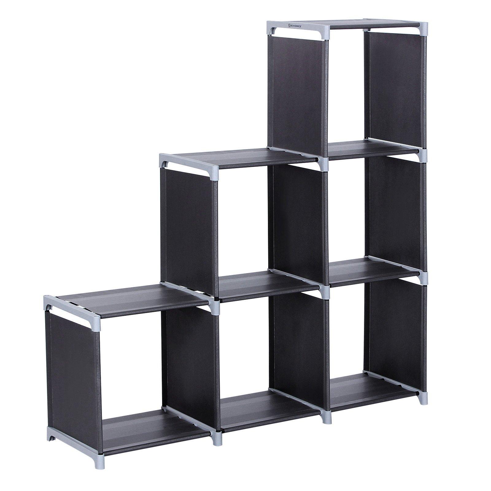 SONGMICS Organizador Multifuncional Estantería Librería de 3 Niveles 6 Cubos almacenaje 110 x 32 x 106