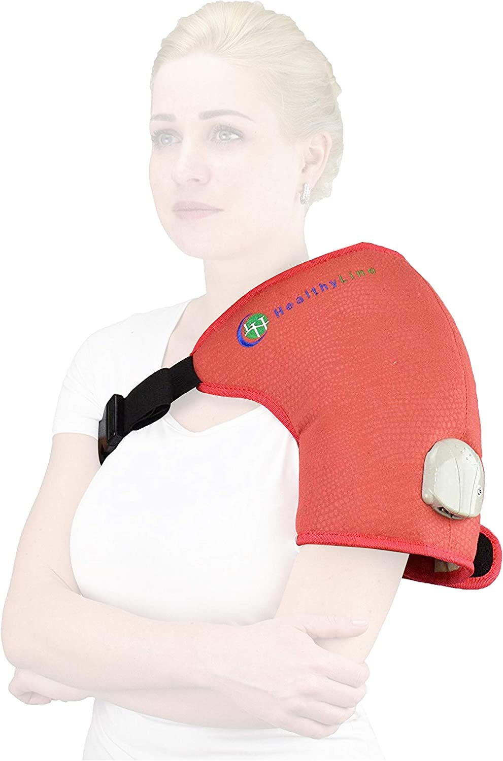 """HealthyLine Far Infrared Shoulder Heating Pad - Inframat Pro - Hot Amethyst Gemstone Pain Relief Therapy - 20"""" x 12"""""""