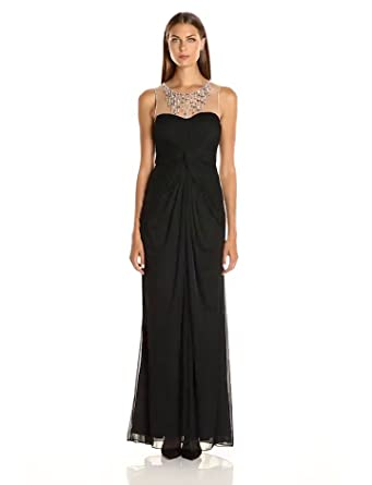 8e32cf363cbe Adrianna Papell Women's Illusion Neckline with Necklace Sleeveless Gown,  Black, ...