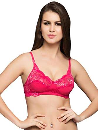 c8ce2e201ad48 Clovia Fashion Lace Cups Non-Padded Bra In Hot Pink  Amazon.co.uk ...