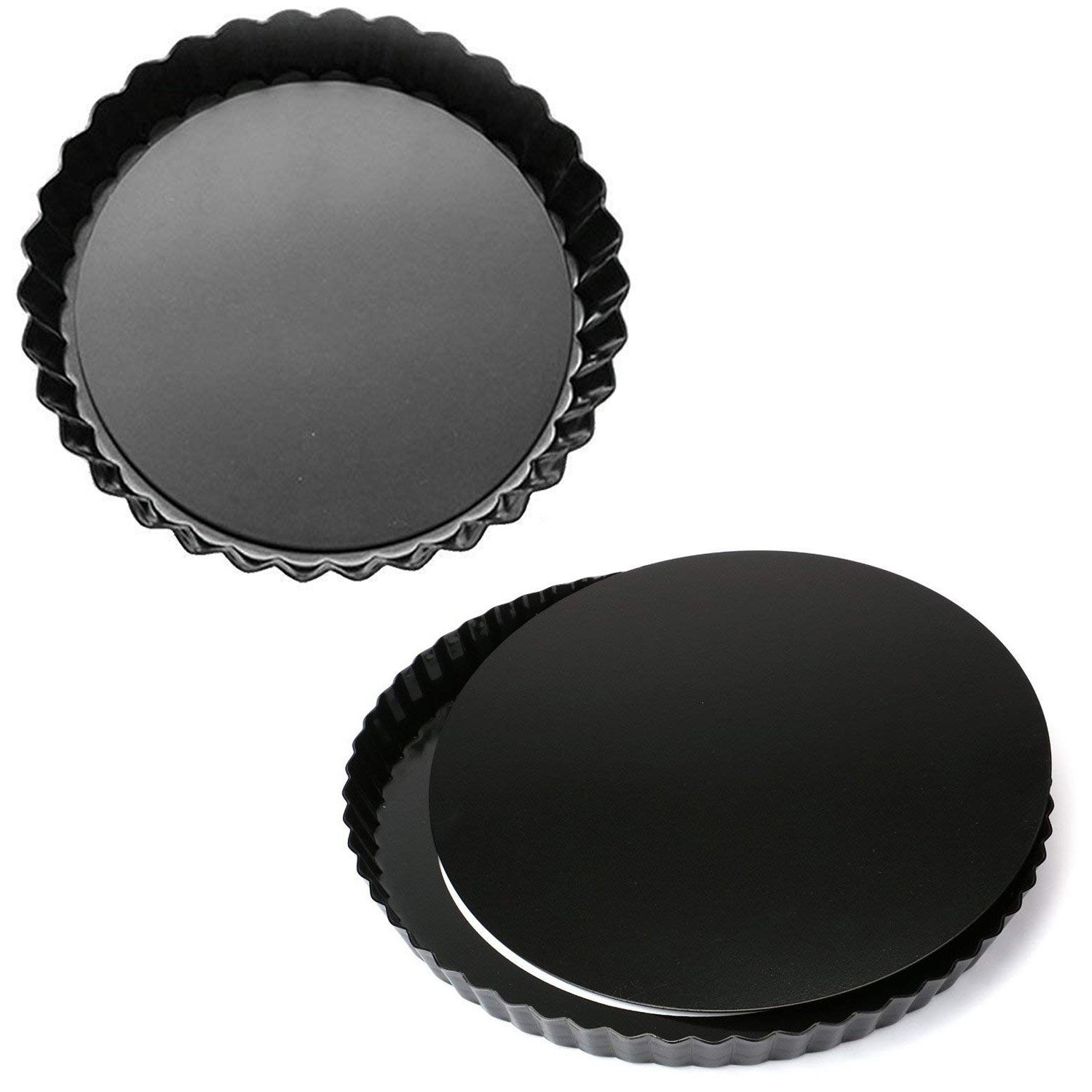MJ Kitchen 2 Pack 11 Inch Removable Bottom Tart Pan, Quiche Pan, Pie Pan with Removable Base, Non-Stick Tart Pie Quiche Baking Dish (2)