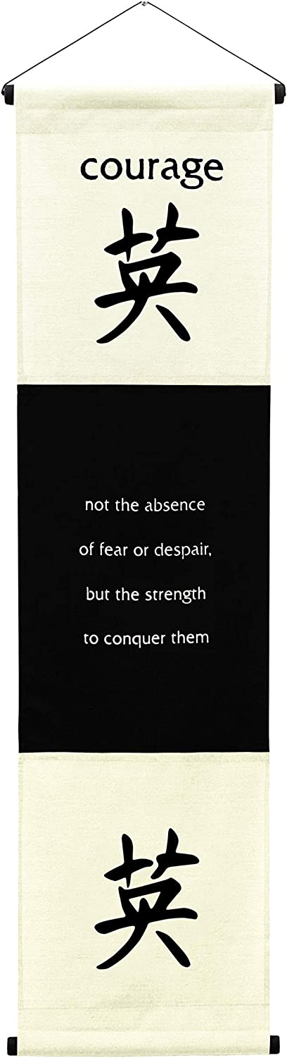 G6 Collection Inspirational Wall Decor Courage Banner Large, Inspiring Quote Wall Hanging Scroll, Affirmation Motivational Uplifting Message Decoration, Thought Saying Tapestry Courage (Cream/Off White)