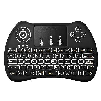 Justop Q4 - Teclado retroiluminado, fino, inalámbrico. con teclado táctil (Touchpad) y Teclas Multimedia con retroiluminación LED, para cajas Android ...