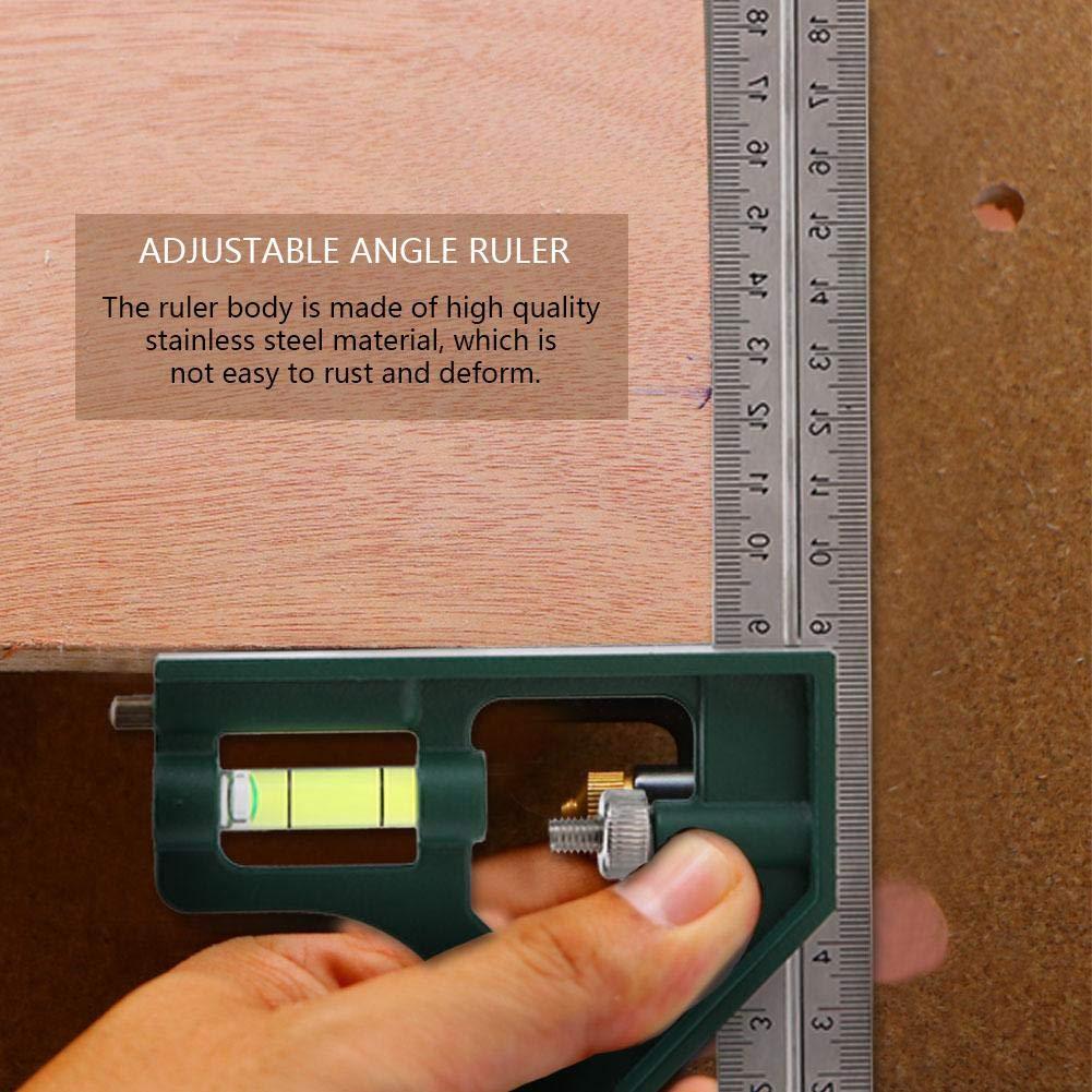 300mm 45//90 Degr/és R/ègle R/églable dAngle Carr/é dAcier Inoxydable avec le Niveau de Bulle