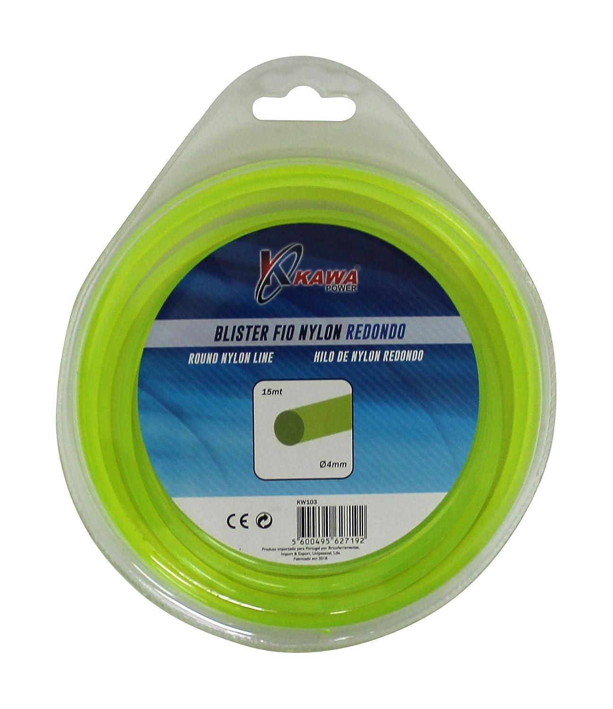 Kawapower KW103 Hilo de Nylon para desbrozadoras 4MM 15mt Redondo ...