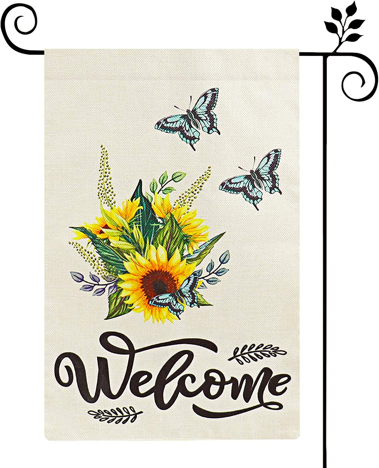 SEMNOZ Welcome Garden Flag, Double Sided Watercolor Burlap Summer Garden Flag W/Butterfly & Sunflower Decor, Spring Yard Flag for Home Outside 12x18