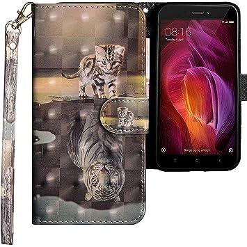 CLM-Tech Funda para Xiaomi Redmi Note 4, Carcasa Cuero sintético, Flip Case con Soporte y Ranuras para Tarjetas, Gato Tigre Gris