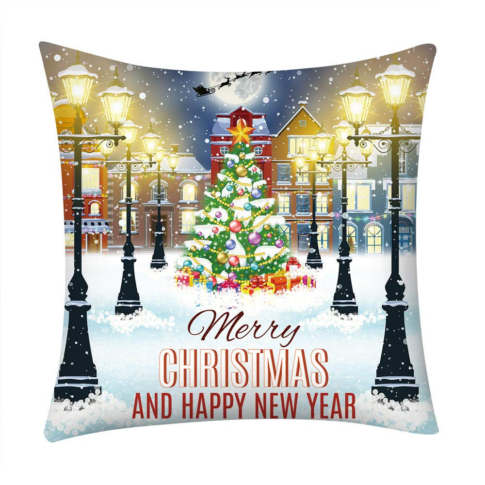 Pgojuni_Pillowcases Merry Christmas Fancy Printing Pillow Case Polyester Sofa Car Cushion Cover Home Decor Cover Pillow Case1pc (45cm X 45cm) (H)