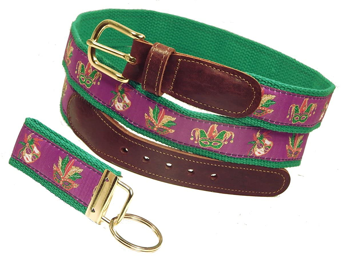 Preston Leather Mardi Gras Mask Ribbon Belt Purple FREE Matching Key Ring Sizes 30 to 50