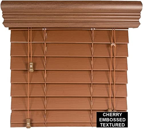 spotblinds Custom Cut to Size 2 Premium Faux Wood Blinds from 24 Wide to 60 Long Color Cherry Embossed 29 W x 54 L