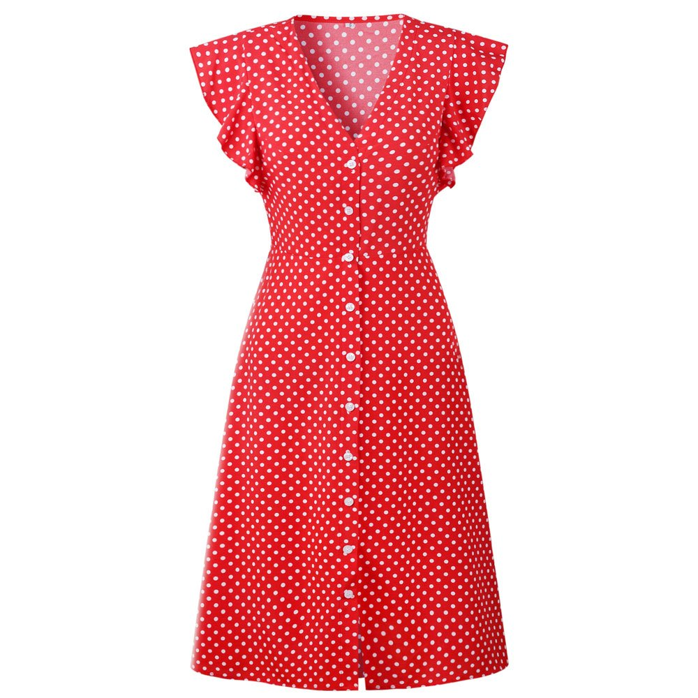 Pevor Women's Summer Casual Dress V Neck Polka Dots Ruffle Short Sleeve Swing Midi Dress Red M