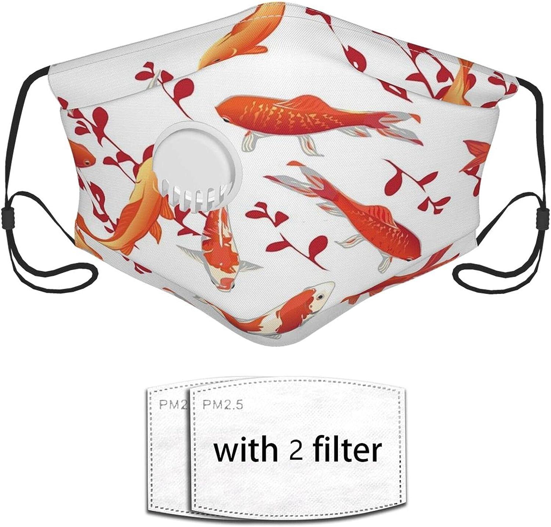 Nicegift Red Koi Carps Seamless Vector Print Mascarilla Reutilizable con válvula de respiración y Filtro