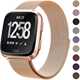 """Milanese Metal Bands Compatible for Fitbit Versa Bands/Versa Lite Edition Bands for Women Men, Replacement Stainless Steel Wristband Accessories Strap (S(5.1""""-7.9""""), Rose-Gold)"""