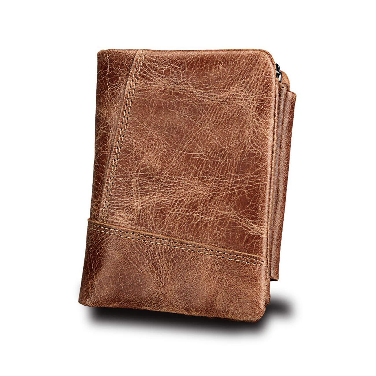 Wallet for Men Portefeuille Homme avec Blocage RFID Cuir | Porte-Monnaie Classique, Porte-cartes Format Portrait ,Kyerivs 1 Volets Zippé Rangement pour Pièces ,Carte de Crédit, Billets(marron) wallet-3