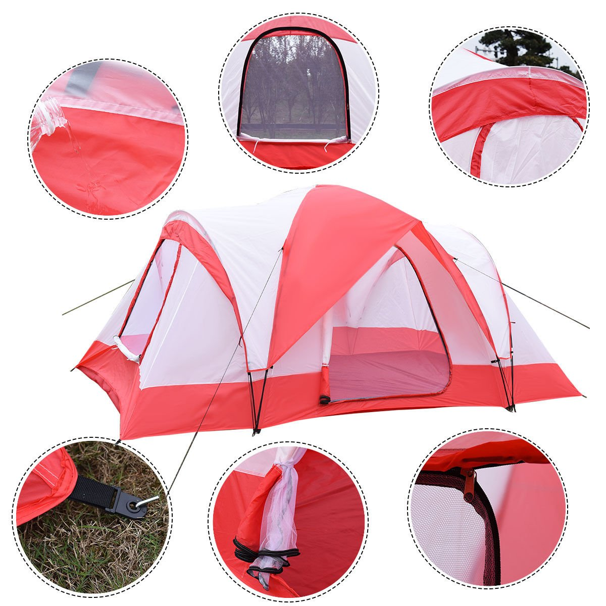 10 Person Outdoor Waterproof Hiking Camping Tent Double Layer with Zipper Closure Red & White for Backpack and Outdoor Activity by DTOFREE