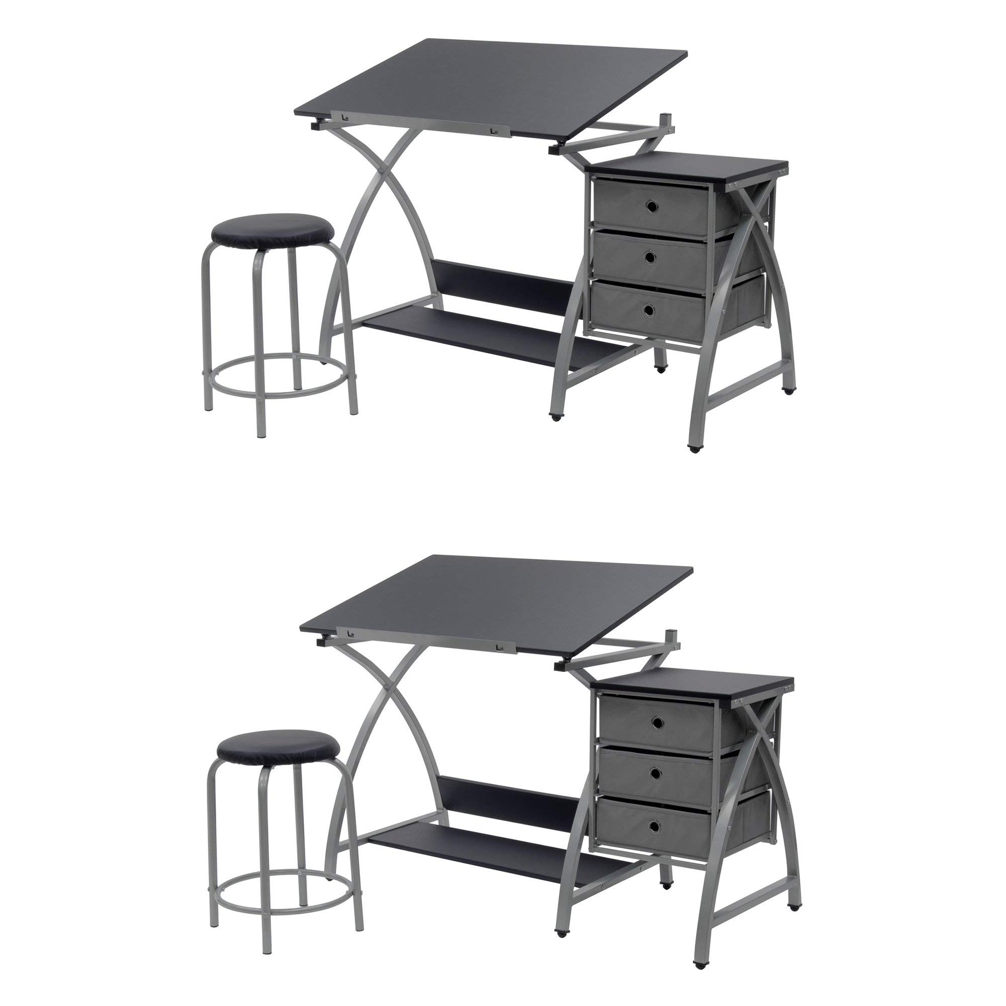 Studio Designs Laminate Craft Table Comet Center with Stool, Black (2 Pack) by STUDIO DESIGNS INSPIRING CREATIVITY WWW.STUDIODESIGNS.COM (Image #1)