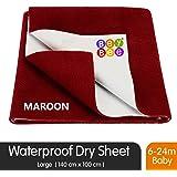 BeyBee Waterproof Baby Bed Protector Dry Sheet for New Born Babies (Large (140cm X 100 cm), Maroon)