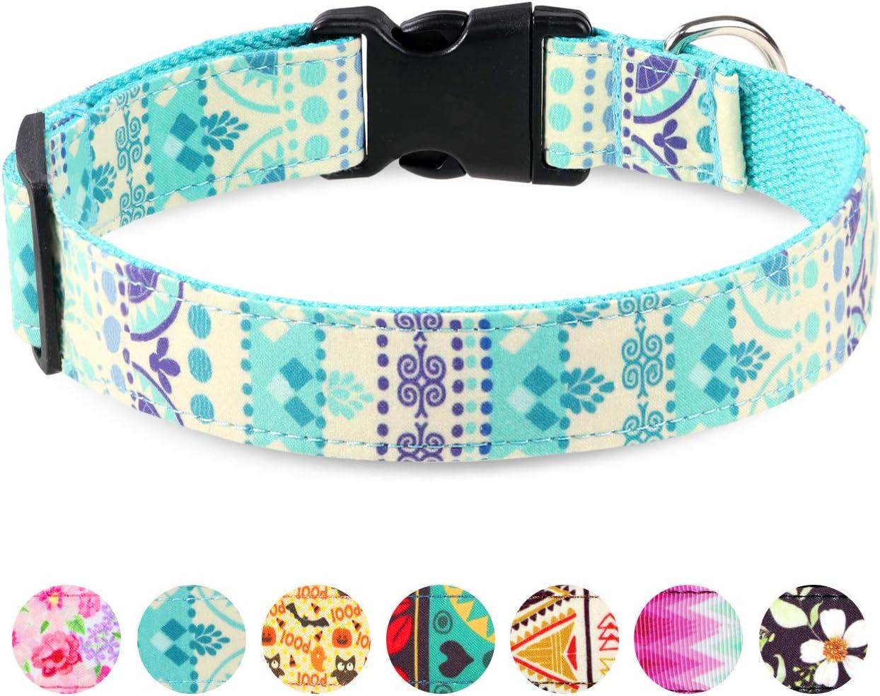 Taglory Collar Perro Ajustable,Estilo Único Collar Adiestramiento para Perros Grandes,40-60cm Azul Étnico
