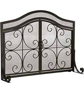 Amazon.com: Large Crest Flat Guard Fireplace Screen, in Copper ...