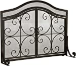 Plow & Hearth Small Crest Fireplace Screen with Doors, Solid Wrought
