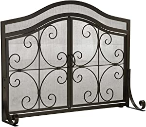 Plow & Hearth Small Crest Fireplace Screen with Doors, Solid Wrought Iron Frame with Metal Mesh, Decorative Scroll Design, Free Standing Spark Guard, 38 W x 31 H x 13 D, Black Finish…