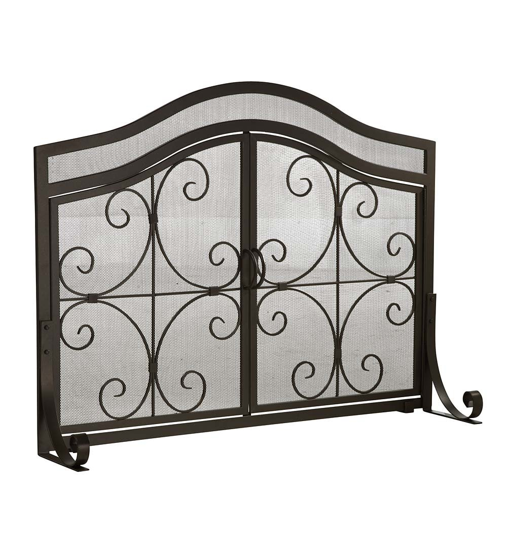 amazon com small crest fireplace screen with doors solid wrought
