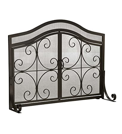 Amazon.com: Small Crest Fireplace Screen with Doors, Solid Wrought ...