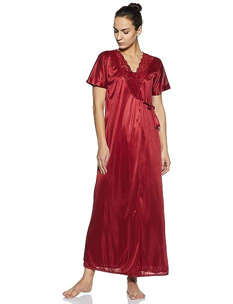 Clovia Women s 4 Pc Satin Nightwear Set (NSM236G09 Red Free Size ... 780131964