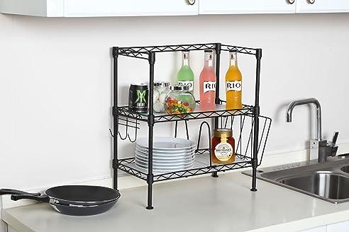 Regal Küche 2 Ablagen mit 3 Haken, 1 Teiler und Mini Rack (Schwarz ...